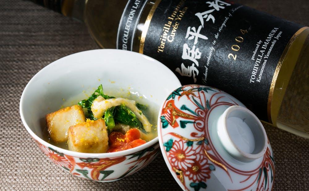 「ワインと和食 みくり」の料理とワイン